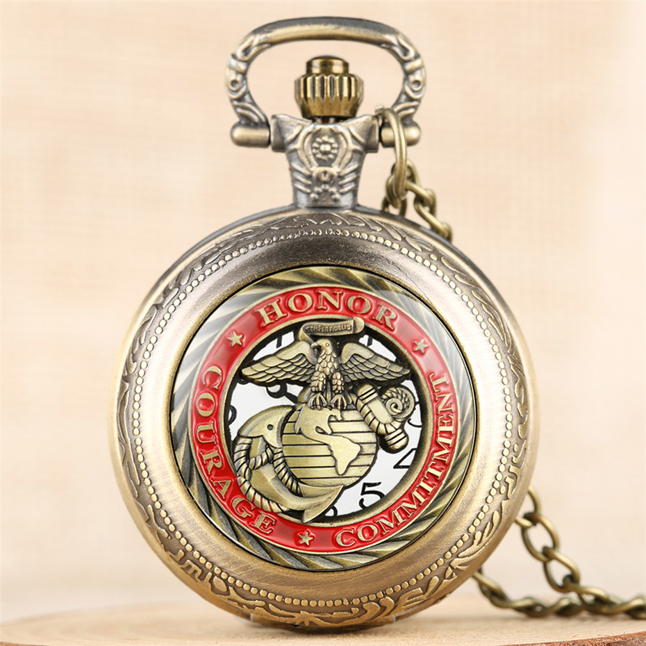 Honor Courage Commitment Design Quartz Pocket Watch For Men Women With 80 Cm Necklace Exquisite Pendant Clock Reloj De Bolsillo