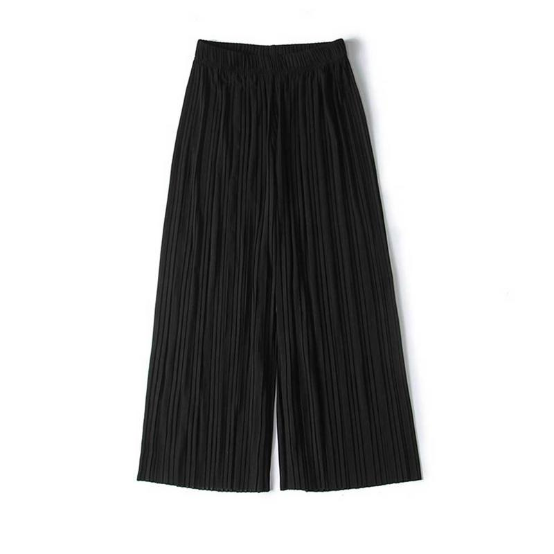 Summer 2019 Chiffon   Wide     Leg     Pants   Women Pleated Loose Plus Size High Waist Elastic Trousers Casual Thin Solid Color   Pants   Black