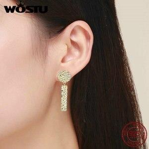 Image 5 - WOSTU Trendy Women Earrings 2019 Individual Geometric Gold Round Stud Earrings For Women 925 Sterling Silver Jewelry Gift CQE533
