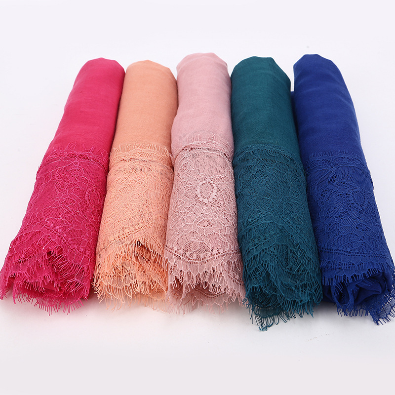 Panel Lace Muslim Scarf Solid Color Chiffon Instant Hijab Turban Femme Headscarf Wholesale