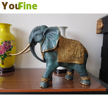 YOUFINE Bronze elephant sculpture copper painted ornaments lucky feng shui like living room porch decorations