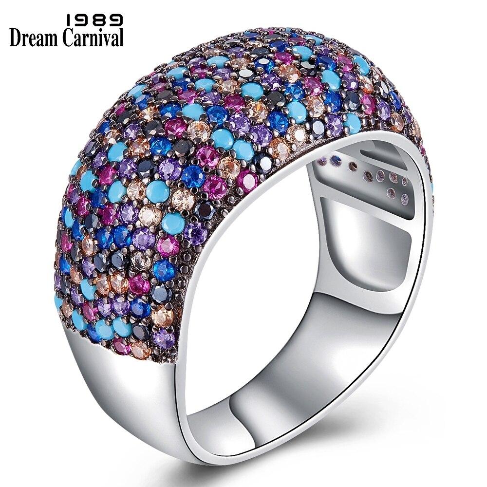 Dreamcarnaval 1989 Punk Design mode mélange couleur Micro CZ cristaux anneaux de Cocktail pour les femmes doivent avoir des prix de gros SJ31035RB