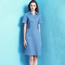 Nordic winds denim dress female 2019 summer new arrival fashion slim hollow out chemical allover lace NW19B6087