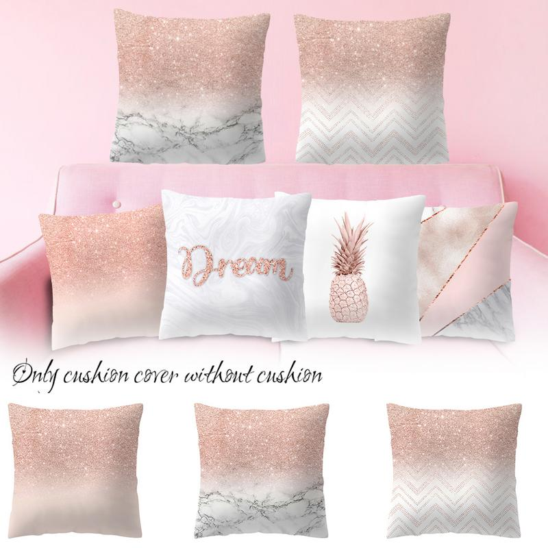 2018 Pillow Case 45*45 Home Decor  Pillowcase Rose Gold Geometric Pineapple Glitter Cushion Cover #O5