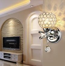 Настенное бра с кристаллами, простой креативный теплый настенный светильник для спальни, прикроватный светильник с кристаллами, железные хрустальные лампы, 85 265 в