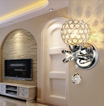 Aplique de pared de cristal Simple creativo, lámpara de pared de cabecera de dormitorio, luces de cristal de hierro 85 265V