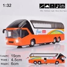 1:32 Сплав модели автомобилей игрушки Высокая симуляция Тур автобус Металл Diecasts игрушечные транспортные средства оттягивание и мигающий и музыкальный мальчик подарок для детей