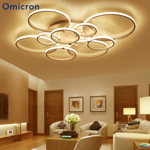 Omicron Modern Led Chandeliers White Brown Circle Rings Dimming Remote Control Lamp For Living Room Bedroom Lighting Decor