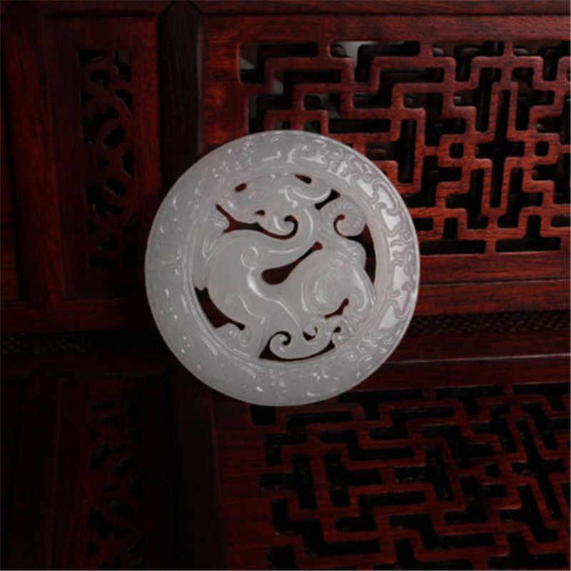 1930's китайский стиль белый нефрит Резные резьба Подвеска деревянное сердце зверь благоприятный полые кулон