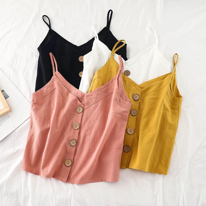 2019 Summer Women   Tank     Tops   Vintage Buttons Decor Camis Korea Fashion Female Summer   Tops