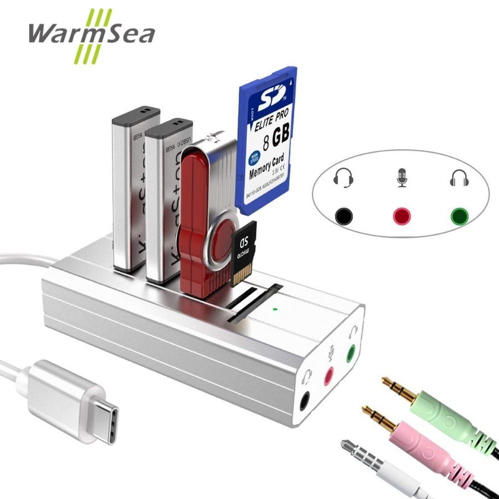 USB type C HUB carte son Adaptateur avec usb SD TF Externe adaptateur audio Salut-fi Stéréo Convertisseur AUX Microphone pour Tous OTG Com