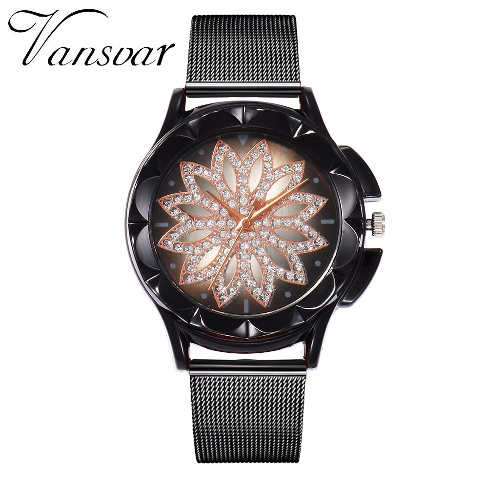 Hot Fashion Women Flower Rhinestone Wrist Watch Luxury Casual Rose Gold Steel Quartz Watch Relogio Feminino Drop Shipping  1