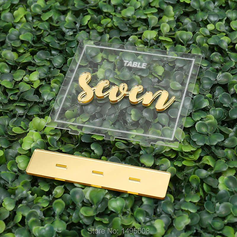 Luxury Numbers Wedding Table Numbers ,Centerpieces Clear Acrylic Tags,  acrylic table numbers,Gold Mirror Wedding Signs Number