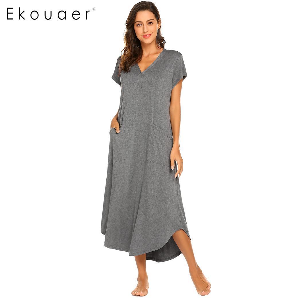 Women nightgown loose night dress sleepwear solid short sleeve pocket v-neck nightdress female chemise sleepshirts