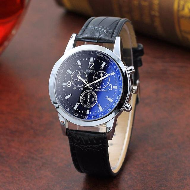 FUNIQUE Brand Fashion Leather Male Analog Quarts Watches Clock Blue Ray Men Wris