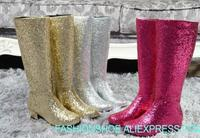 woman bling bling knee high boots sequins boots night club knight boots star models wedding woman long boots plus size 45 custom