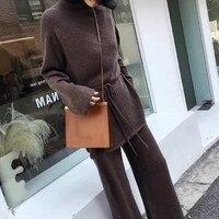 Autumn Women Sweater Set Wool Cashmere Wide Leg Pants Suit 2 Piece Set Women Turtleneck Top Bandage Women Suit