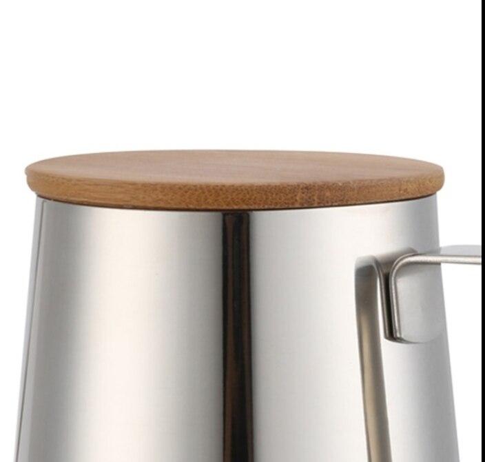 Houten Deksel Koffie Pot Roestvrij Staal Hand-held Pot Slanke Koffie Pot Voor Keuken Bar Benodigdheden