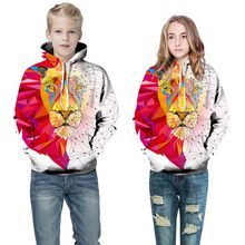 Купить с кэшбэком Girls sweater spring autumn Europe and the United States 3d digital printing hooded shirt sports baseball children's clothing