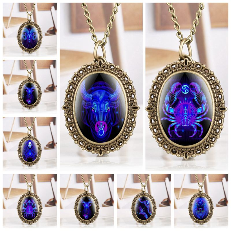 12 Zodiac Necklace Pendant Pocket Watch Aries Taurus Gemini Cancer Leo Virgo Libra Scorpio Sagittarius Capricorn Aquarius Pisces