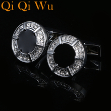 Qi Wu Cuff links  French Buttons Fashion Jewelry Black Shirt Cufflinks cuff buttons Wedding Gifts Gemelos Free Shippping