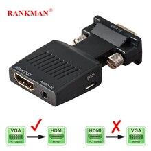 Rankman Vga Male Naar Hdmi Vrouwelijke Converter Met Audio Adapter Kabels 720/1080P Voor Hdtv Monitor Projector Pc laptop Tv Box PS3
