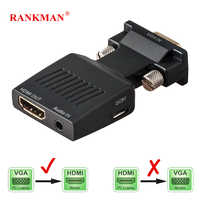 Rankman VGA Male to HDMI Female Converter with Audio Adapter Cables 720/1080P for HDTV Monitor Projector PC Laptop TV-Box PS3
