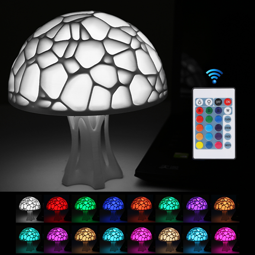 Usb Rechargeable Mushroom Bedside Lights 3d Printing Table Lamp With Remote Control 16 Color Control Night Lamp For Home Xmas Smart Home