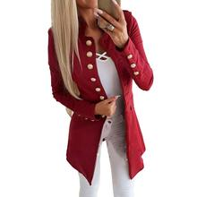 MISSKY 2019 New Women Coat Solid Color Casual Slim Long Sleeves Buttons Jacket S