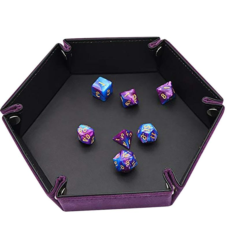 Dice Rolling Tray Case Table Dice Game Hexagonal Leather Game Case Dice Rolling Tray Party Camping Outdoor Entertainment Tool Щипцы