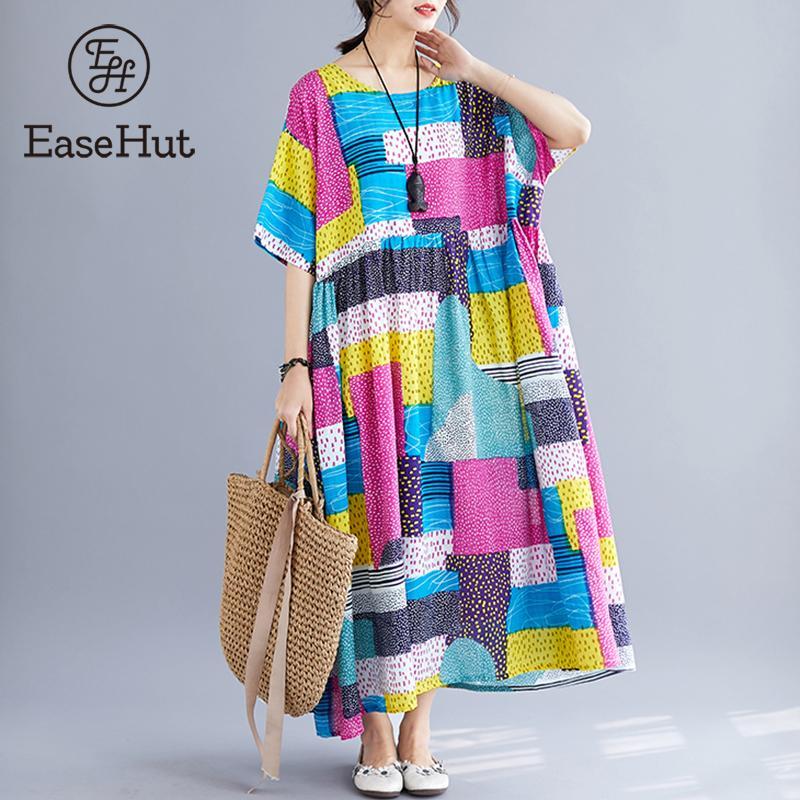 Easehut Women Fashion Ethnic Dress Dot Printed Color Block Half Sleeve Dress Summer Loose Casual Holiday Wear femme Robe Dresses