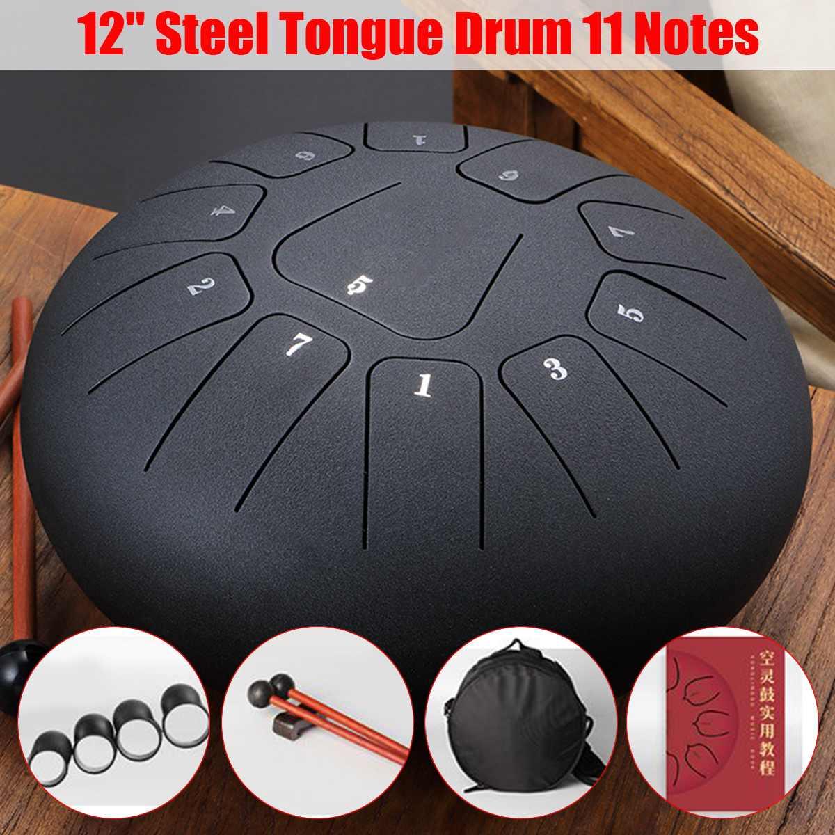12 pouces en acier Mini 11 tons en acier langue tambour à Percussion professionnel D grande échelle Handpan Instrument pour l'éducation musicale