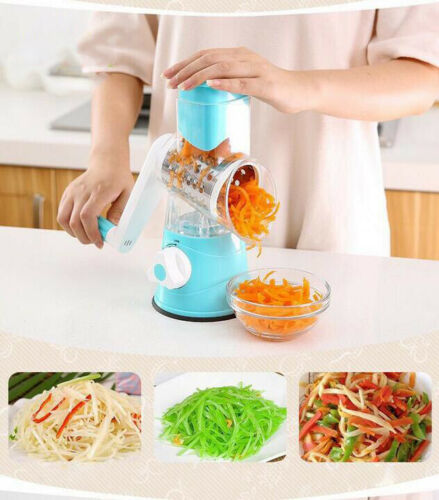 Stainless Steel Rotary Vegetable Cheese Cutter Washable Grater Slicer Shredder Grinder Interchanging Stainless Steel Drums