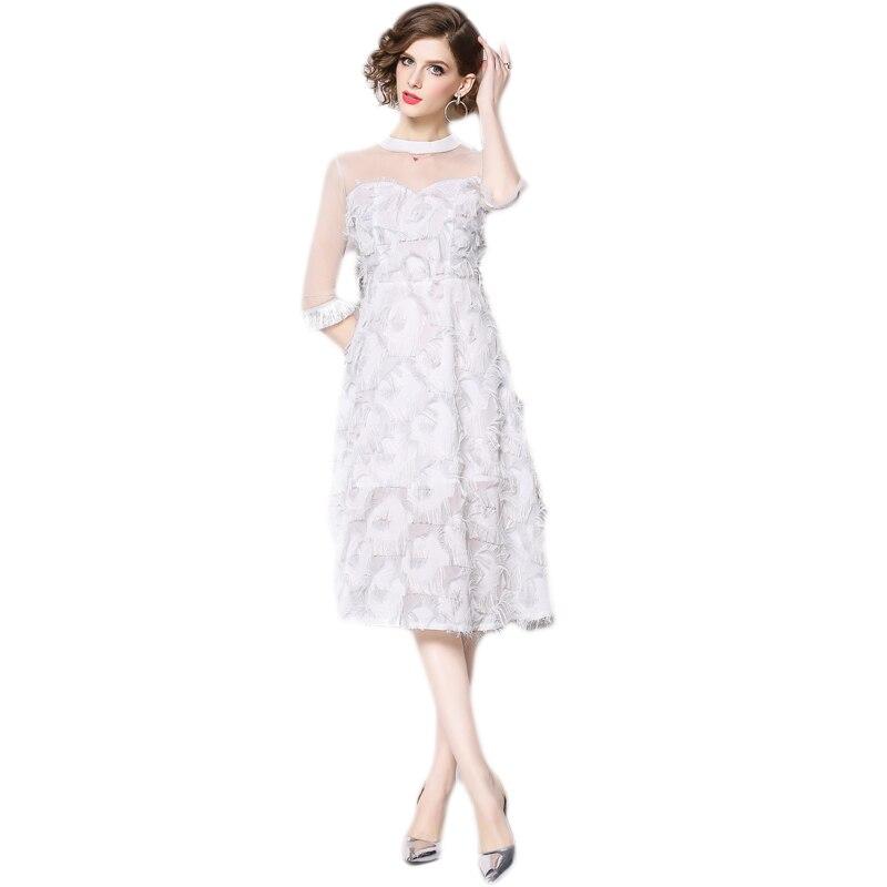 ee0e70400f3 Новинка 2019 года женское платье сетки довольно горький Fleabane кисточкой  платье с перьями белый 6238