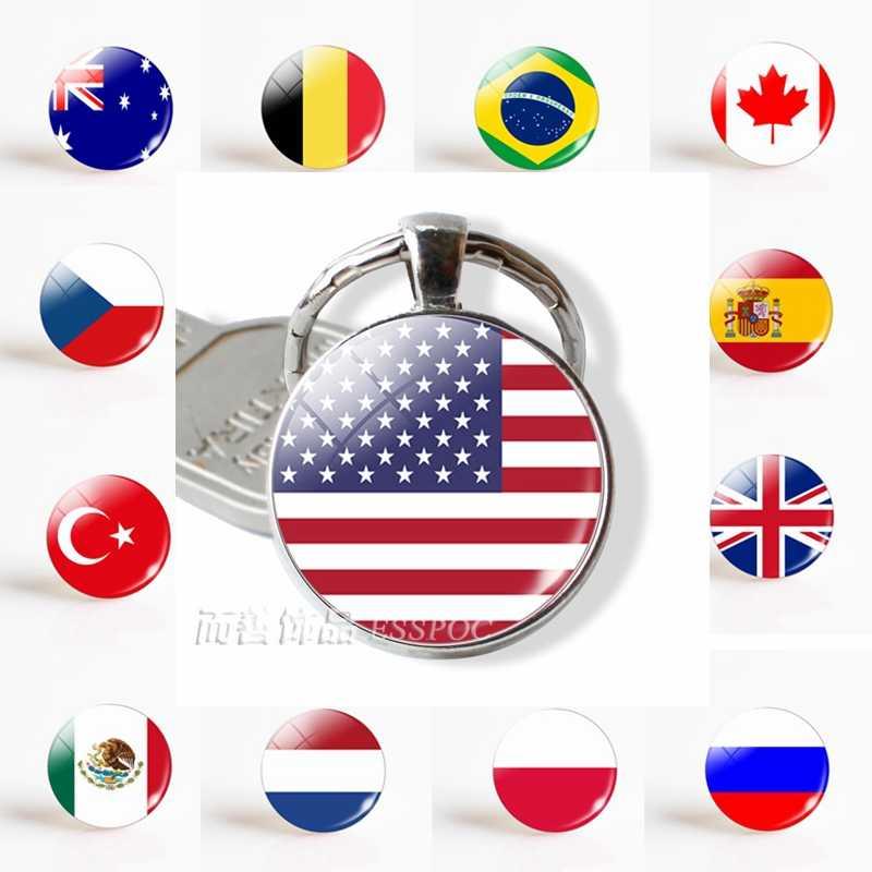 Флаг США Великобритания Бразилия Россия Испания гламурный стеклянный купол брелок для ключей панк женские мужские модные аксессуары брелок-сувенир подарки