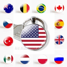 Flag USA UK Brazil Russia Spain Glamour Glass Dome Keyring Key Ring Punk Women Men Fashion Accessories Keychain  Souvenir Gifts