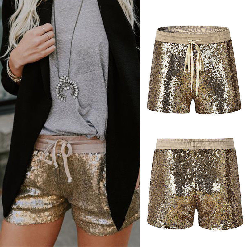 <font><b>2018</b></font> Summer <font><b>Women</b></font> Sequins Shorts Casual Elastic Waist Gold Paillette Shorts <font><b>Sexy</b></font> <font><b>Women</b></font> Short <font><b>Pants</b></font> Bling Clubwear image