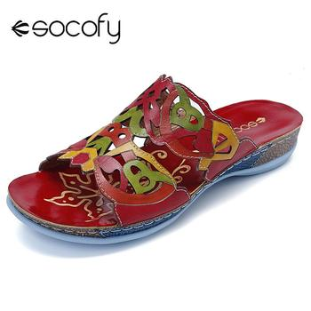SOCOFY Colorful Genuine Leather Splicing Hollow Comfortable Slip On Casual Sandals Elegant Sandals Ladies Shoes 2020 Spring New