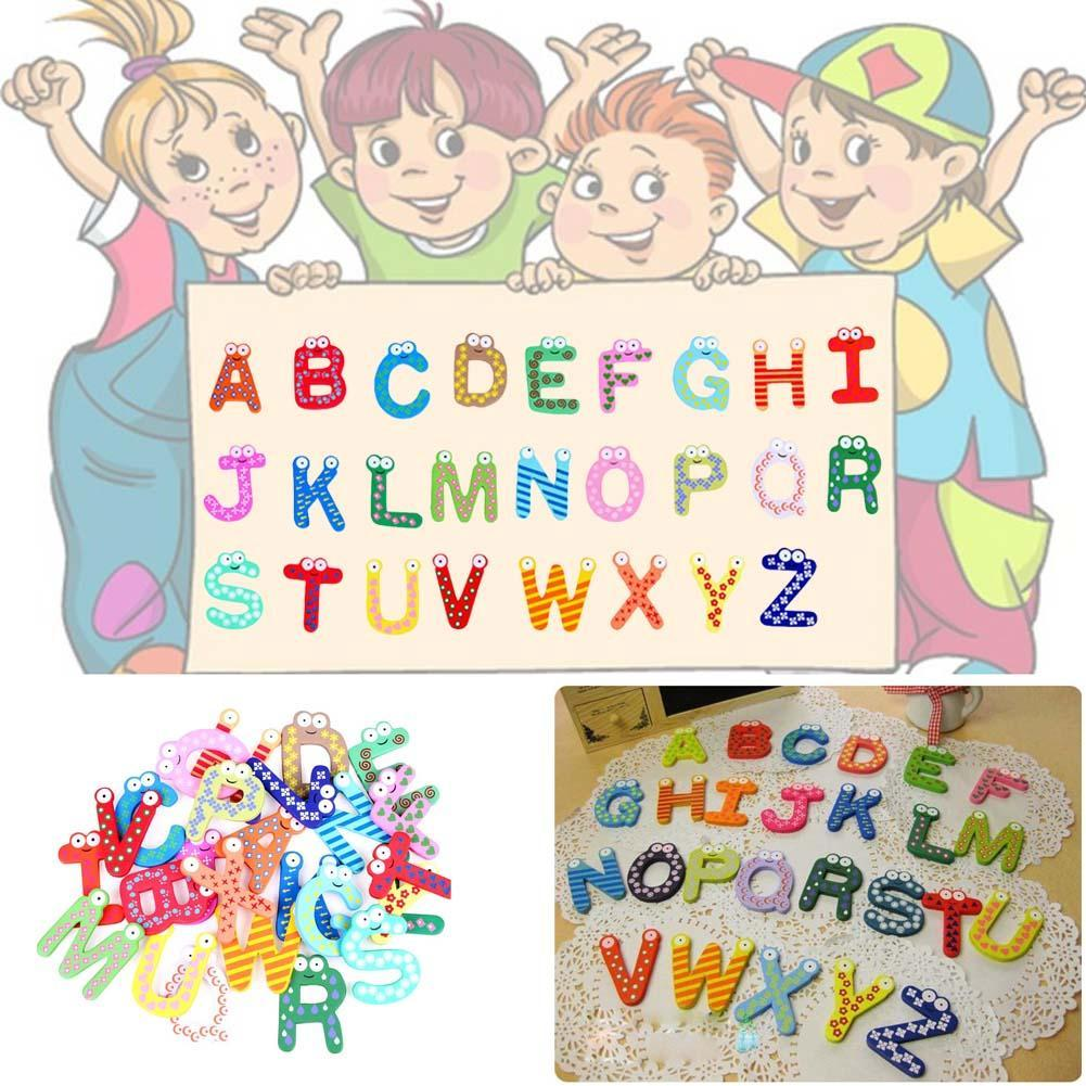 Baby Kids Wooden Alphabet Letters Baby Educational Learning Toys Refrigerator Message Board 1 Set=26pcs 5cm Stationery Stickers