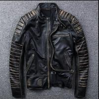 New Vintage Brand clothing mens cow leather Jackets men genuine Leather biker jacketmotorcycle homme Fitness