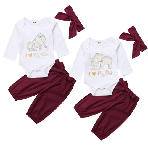 8d081c27ebbc Adorable Newborn Baby Girls Spring Autumn Cotton Clothes Set Love Dad Mom  Letter Romper White Tops + Wine Red Bow Pants Outfit