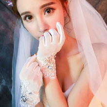 Full finger with diamond cutout short style gloves Korean aesthetic dress accessories
