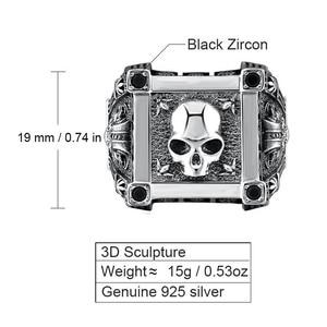 Image 2 - ZABRA Adjustable Size 925 Sterling Silver Skull Rings For Men Zircon Ring Vintage Puck Rock Biker Jewelry