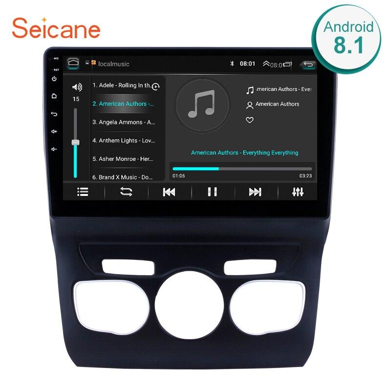 Seicane 10.1 polegada hd touchscreen android 8.1 sistema de navegação gps wifi bluetooth rádio do carro para 2013 2014 2015 2016 citroen c4
