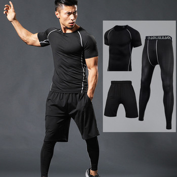 Men Sportswear Compression Sport Suits Quick Dry Running Sets Clothes Sports Joggers Training Gym Fitness Tracksuits Running Set 1