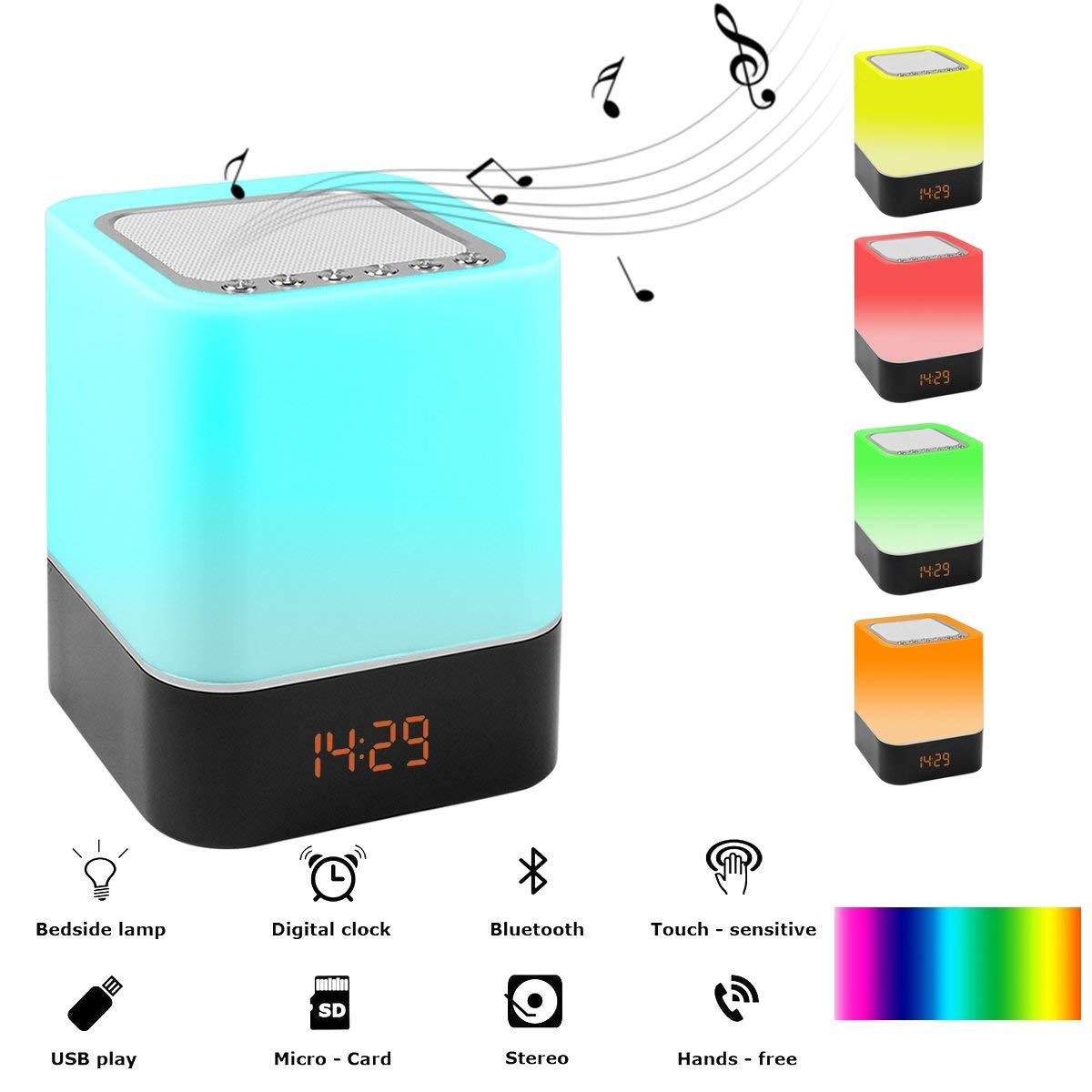 Dapper Brand Nieuwe Draadloze Bluetooth Speaker Met Touch-control Bedlampje, Tafel Wekker Bluetooth Met Veranderende Led Nachtlampje Regelmatig Drinken Met Thee Verbetert Uw Gezondheid