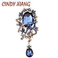 CINDY XIANG 4 Colors Choose Crystal Flower Brooches for Women Large Long Pendant Pin Vintage Fashion Jewelry Coat Pins