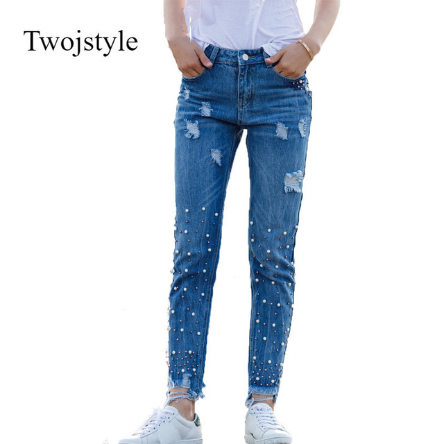 084da27bf2e0 Twosjsylt women jeans pearls casual fashion solid color boyfriend jeans  nail beads decorat holes broken worn ripped jeans ladies