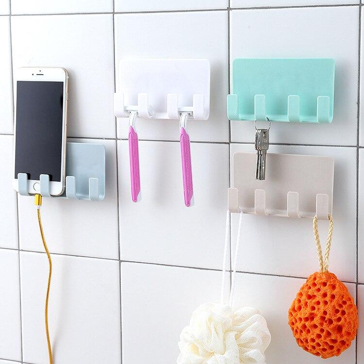 Bathroom Storage Rack Wall Mounted Shaver Holder Organizer 4 Hanger Hooks Towel Shelf Key Peg Strong Suction Phone Charging Rack