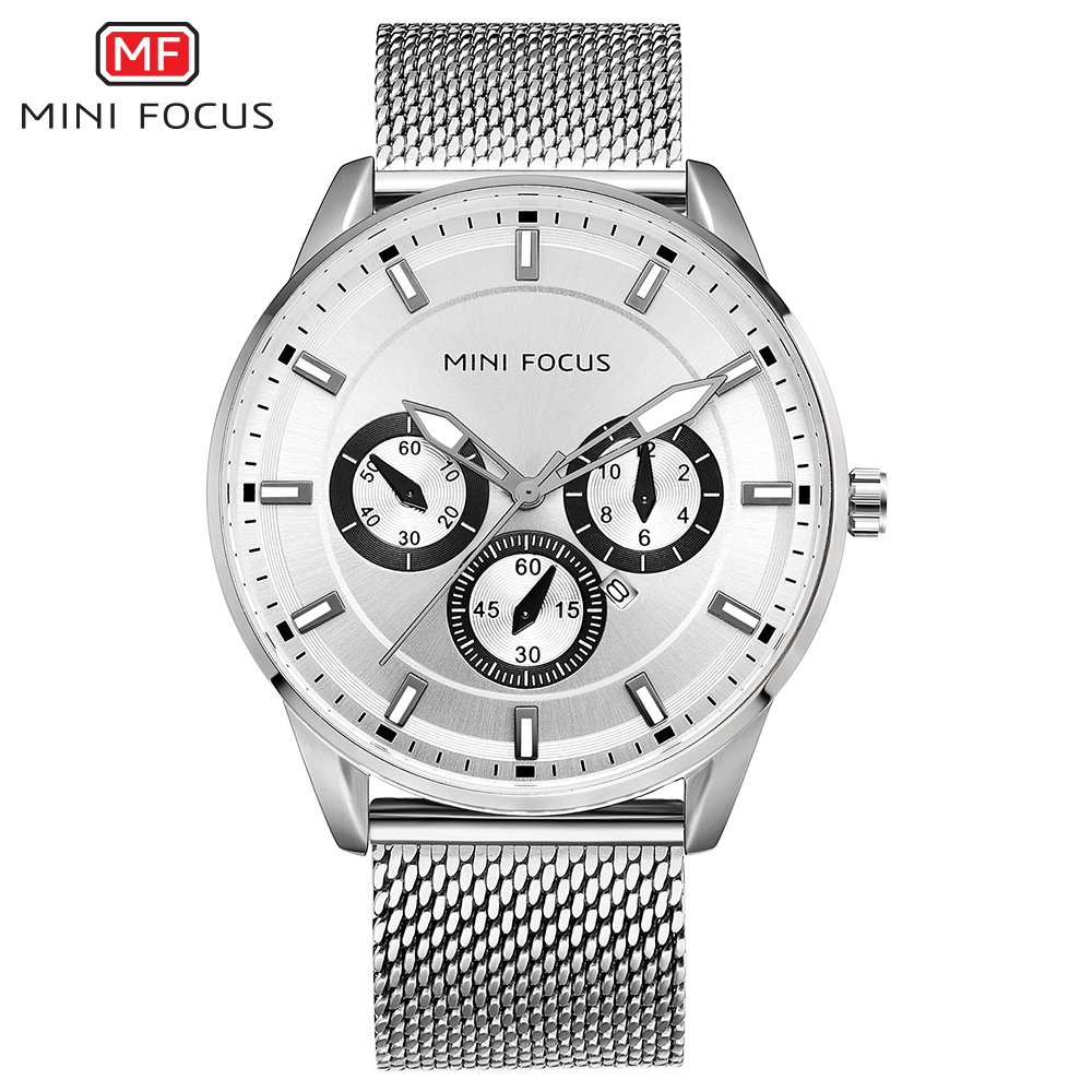 MINI FOCUS MF0178G Men Watch Quartz Quartz movement offers accurate time display Hardlex crystal mirror stainless steel strap g6 tactical smartwatch